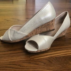 Kelly and Katie Metallic Cork Wedges